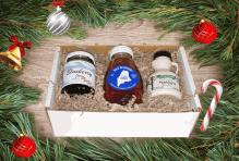 Order A Maine Holiday Gift Pack (Blueberry Jam, Honey & Maple Syrup)